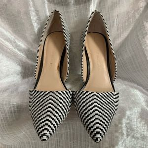 Black and White Woven Pumps